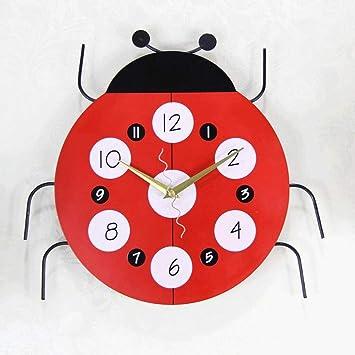 YHEGV Reloj de Pared de Silencio Maravilloso 7-Star Ladybug Cartoon Moda Personalidad Mute Relojes despertadores: Amazon.es: Hogar