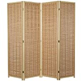 MyGift 6-Foot Wood 4-Panel Slat Room Divider with Two-Way Hinges, Beige
