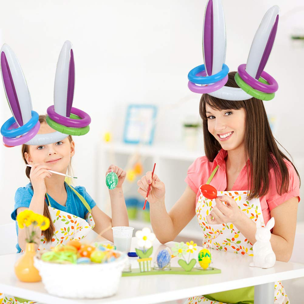FUTUREPLUSX Inflatable Bunny Ears, 2PCS Inflatable Bunny Ears Headband with 10PCS Inflatable Tossing Rings Ring Toss Game Holiday Party Decoration Easter Gifts