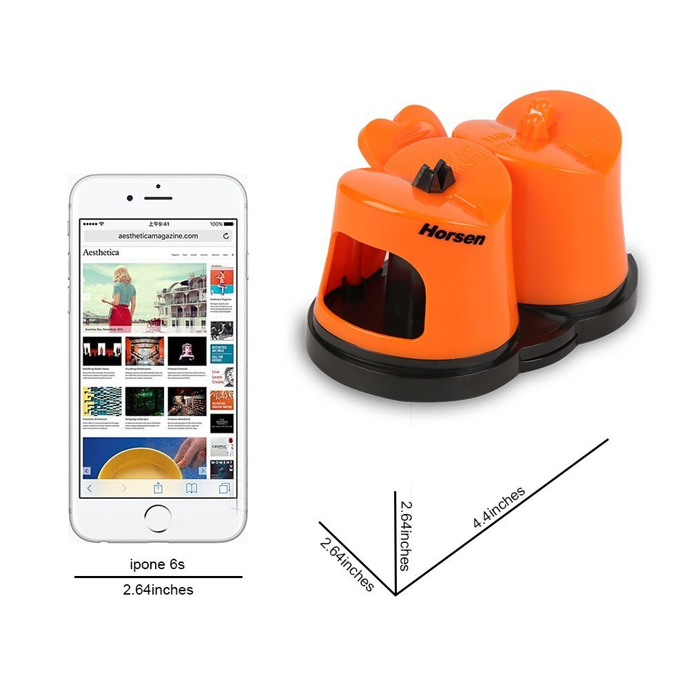 Horsen Knife Sharpener with Suction Cup ,Coarse and Fine Sharpening System (Orange)