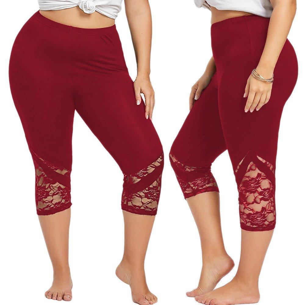 edd9b68036575 Cinnamou Pantalones Cortos de Yoga para Mujer Encaje Fitness Leggins Skinny  Push up Pantal ó n ...