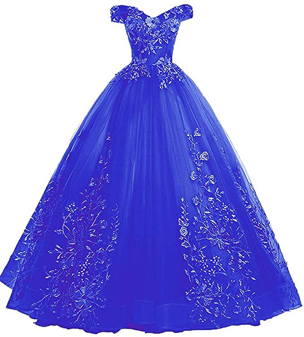 Royal bluee Womens Off Shoulder Quinceanera Dresses Lace Applique Beaded Prom Dresses A Line Tulle Evening Formal Gowns