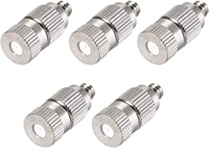 uxcell Brass Misting Nozzle - 3/16-inch Threaded 0.4mm Orifice Dia Fogging Spray Head for Outdoor Cooling System - 5 Pcs Silver Tone