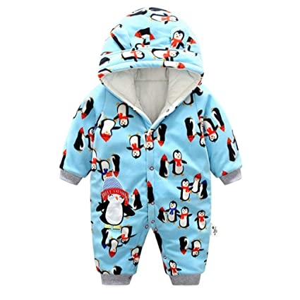 e89d60513 Baby Snowsuit Boys Girls Hooded Romper Winter Fleece Overalls Thick Jumpsuit  9-12 Months: Amazon.co.uk: Baby