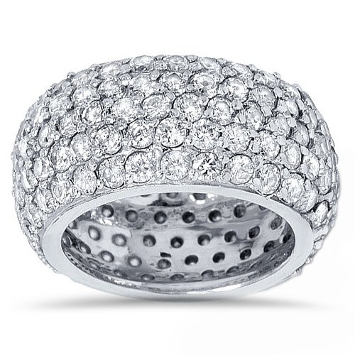 5 3/4ct Pave Diamond Eternity Wedding Anniversary Ring