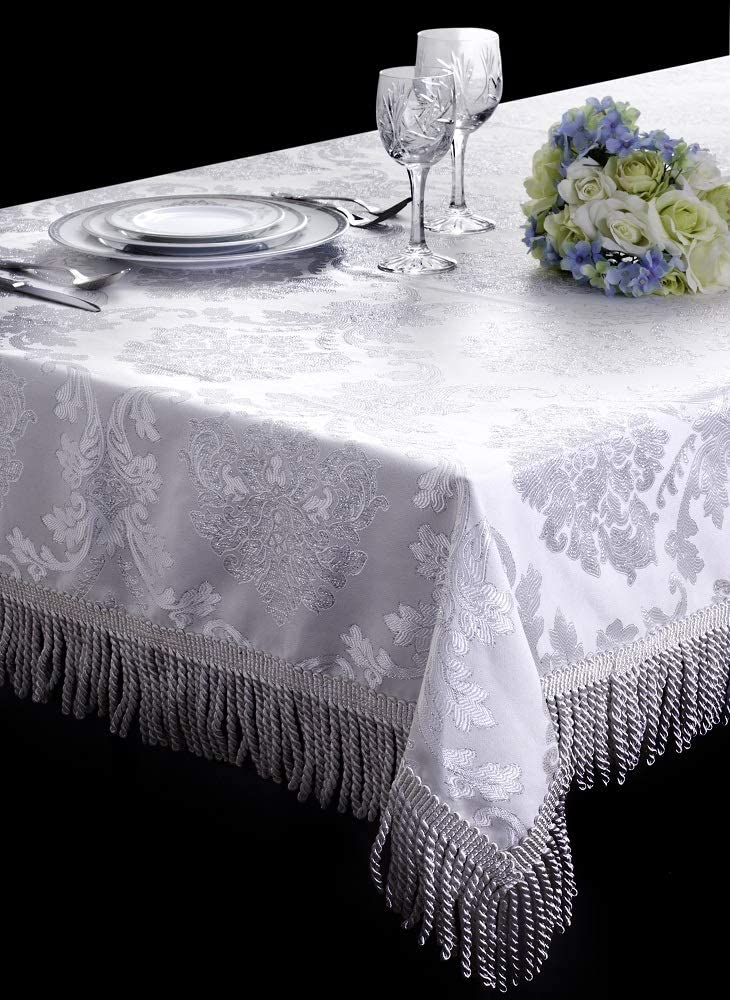 Upstate Home Designs Medallion Tablecloth Rectangle Table Cloth Washable Wrinkle Free Dining Room Table Cover (Rectangle 64