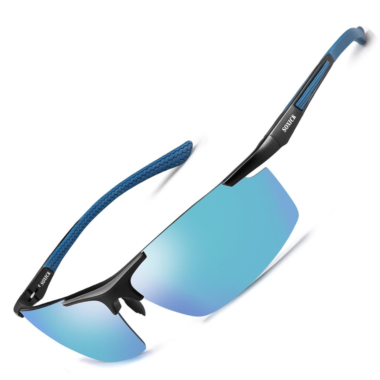 Sport Polarized Sunglasses UV400 Anti-Glare Fashion Driving Glasses Perfect Gift (Blue Frame/Blue Lens)