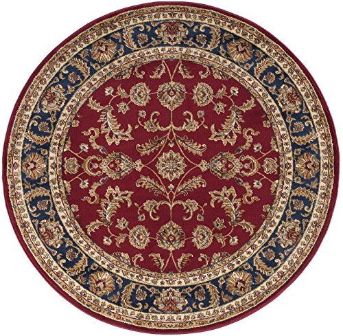 Sariya Transitional Oriental Red Round Area Rug, 5' Round