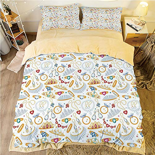 (Flannel Duvet Cover Set 4-Piece Suit Warm Bedding Sets Quilt Cover for bed width 5ft Pattern Customized bedding for boys and young children,Pearls,Pattern with Accessories Diamond Rings and Earring Fi)