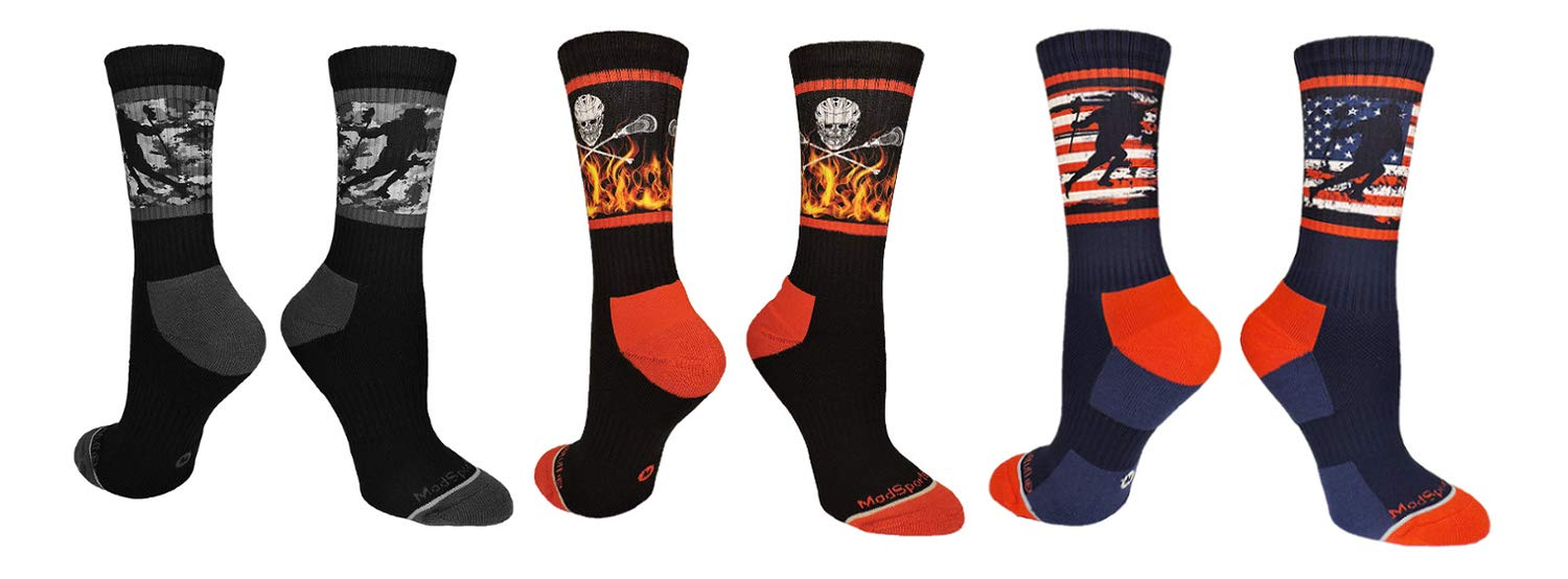MadSportsStuff Lacrosse Socks with Player on Camo Background Crew Socks (Multiple Colors) (3 Pack-Multi, Large)