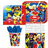 Amscan DC Comics Superhero Girl Birthday Complete Party Tableware Pack for 16, Dinner