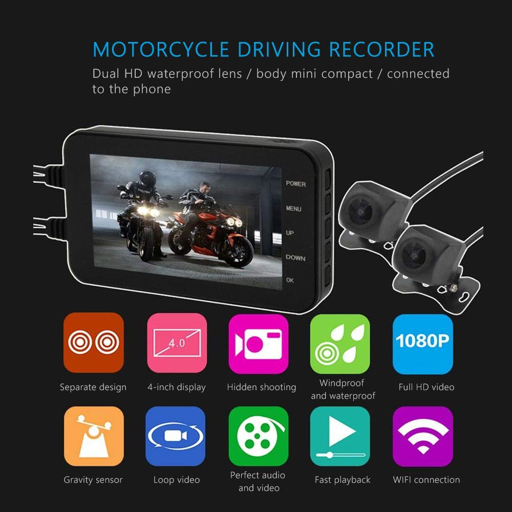 Loop Recording 140 Degree Wide Angle WDR G-Sensor Motorbike Recorder,KOBWA Motorcycle Security Camera 4 LCD 1080P with Night Mode