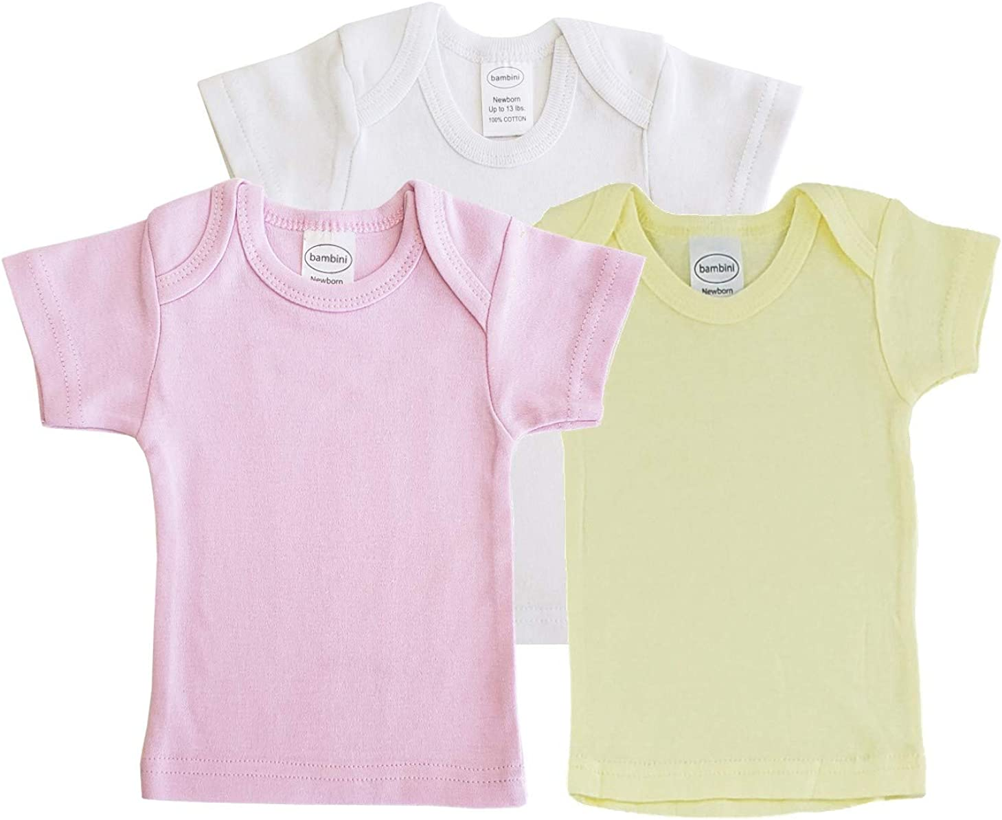 Unisex Baby Short & Long Sleeve Tee Shirts, 100% Cotton for Variety Packs of 3-Pack/ 6-Pack (Large (18-24 Months / 27-34 lbs.), Short-Sleeve_3-Pack_Pastel_for Girl)