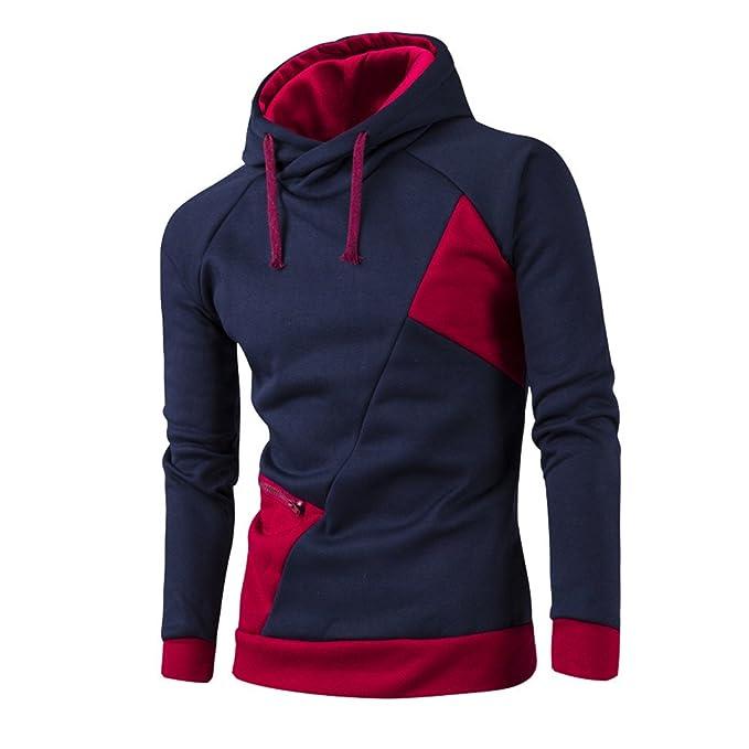 COCO clothing Sudaderas con Capucha Hombre Patchwork Moto Casual Pullover Hooded Sweatshirt Sport Basica Chaquetas Juvenil