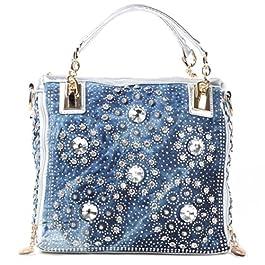 Kaxidy Womens Ladies Girls Denim Bag Top-handle Bags Handbags Satchel School Office Bag