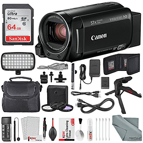 Canon Vixia HF R80 HD Camcorder Deluxe Bundle W/ 64GB SD, Table Top Tripod, LED Light Kit and XPIX Cleaning Kit