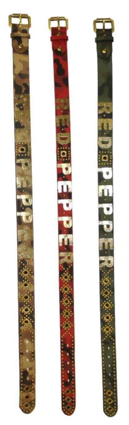 (レッドペッパー) RED PEPPER 本革ユニセックス迷彩スタッズロゴ細ベルト B01LA2RQWG ベージュ ベージュ