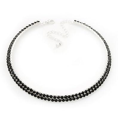 Avalaya Thin Austrian Crystal Choker Necklace (Jet Black) WRWpwZ