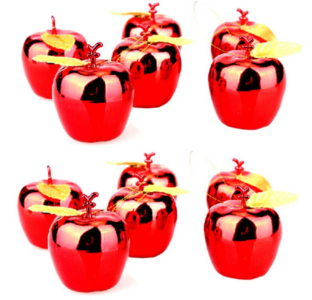 12pcs Christmas Tree Xmas Apple Decorations Baubles Party Wedding Ornaments Gold Red Decor (Red)