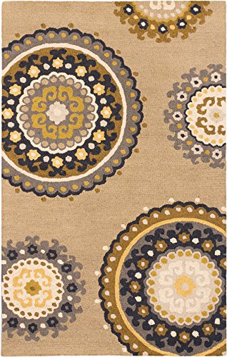 eCarpet Gallery Hand made   Area Rug for living room, bedroom   Home Decor Rug   100% Wool   Mod Elegance Casual Ivory Rug 5'0