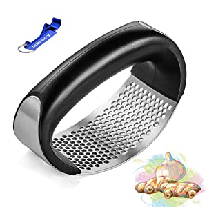 AmDONGKING Garlic Ginger Press Rocker, Stainless Steel Garlic Ginger Crusher Chopper Mincer Squeezer with Bottle Opener.