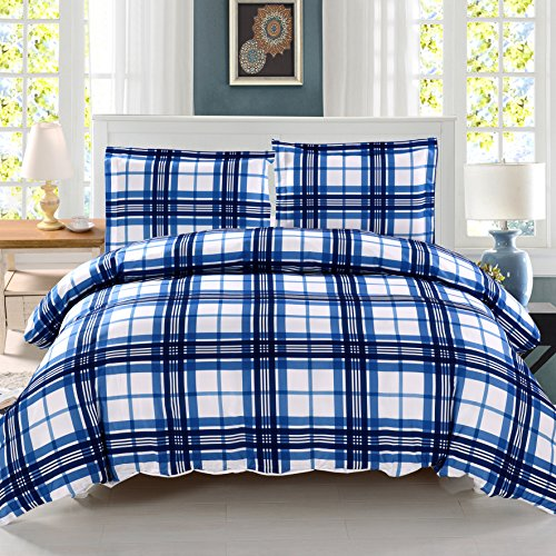 3 Pieces Blue Plaid Duvet Cover Set King Size Bedding