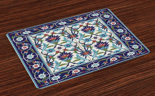 Ambesonne Turkish Pattern Place Mats Set of 4, Mosaic Tiles with Nature Inspired Ornaments Tulips and Daisies with Curls, Washable Fabric Placemats for Dining Table, Standard Size, Turquoise White