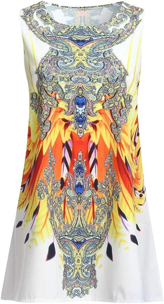 Hengshikeji Womens Dress Summer O-Neck Boho Sleeveless Floral Printed Beach Mini Dress Casual T-Shirt Short Dress
