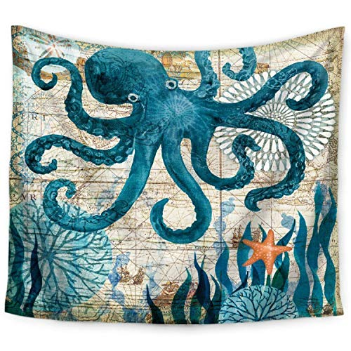 ECONIE Octopus Tapestry Mandala Wall Hanging Tapestry Marine Life Bohemian Tapestry Wall Art Decor Beach Throw Table Runner/Cloth 51 x 60Inches (03)