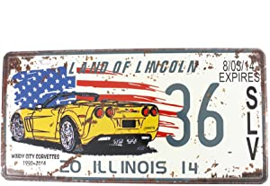 6x12 Inches Vintage Feel Rustic Metal Tin Sign Plaque for Home Decor (Land of Lincoln)
