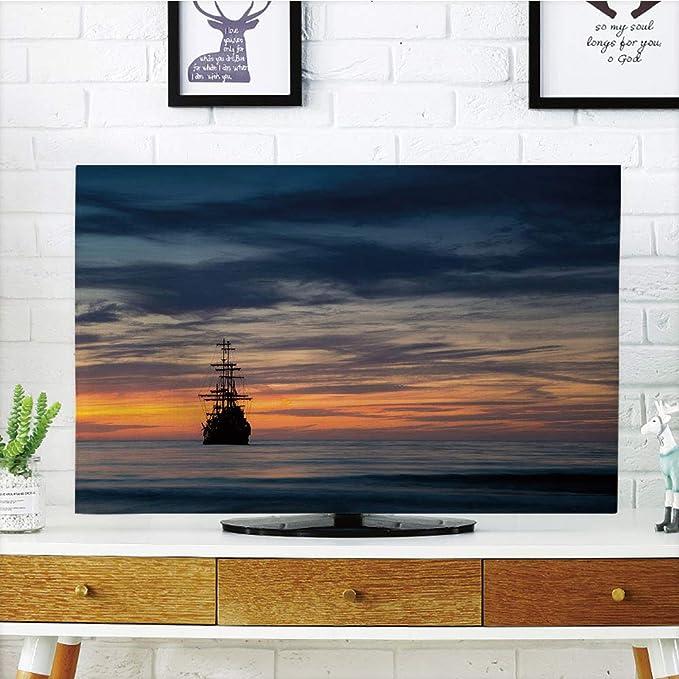 Cubierta antipolvo LCD para TV, diseño de barco pirata, estilo antiguo retro, flotante en el agua, diseño de crucero antiguo marino, color verde oscuro, blanco oscuro, diseño de impresión 3D compatible con