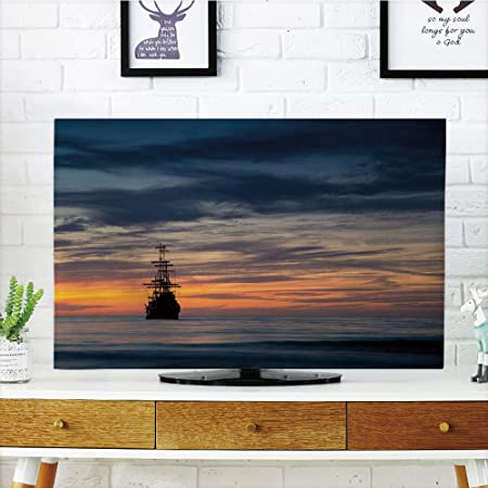 Cubierta antipolvo LCD para TV, diseño de barco pirata, estilo antiguo retro, flotante en el agua,