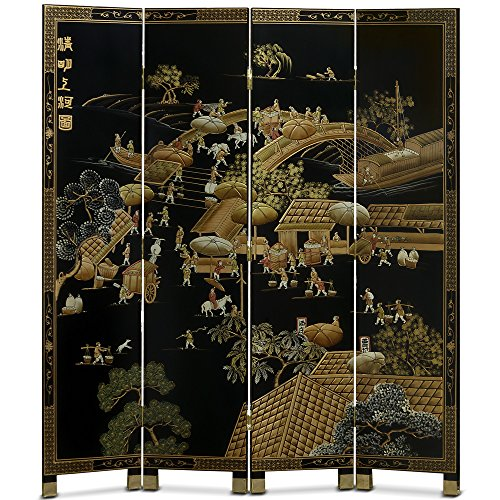 - ChinaFurnitureOnline Floor Screen, Hand Painted Chinoiserie Courtyard Landscape Room Divider Black
