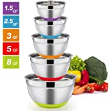 Mixing Bowls Set of 5, P&P CHEF Stainless Steel Mixing Nesting Salad Bowl, Size 8-5-3-2.5-1.5 QT for Mixing Prepping Serving, Measurement Marks & Non-Slip Silicone Bottom, Dishwasher safe