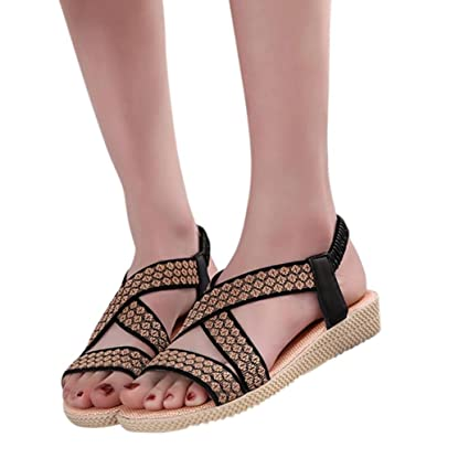 e07a33ffc Image Unavailable. Image not available for. Color  Women Elastic Ankle  Strap Flat Sandals Summer Thong T-Strap ...