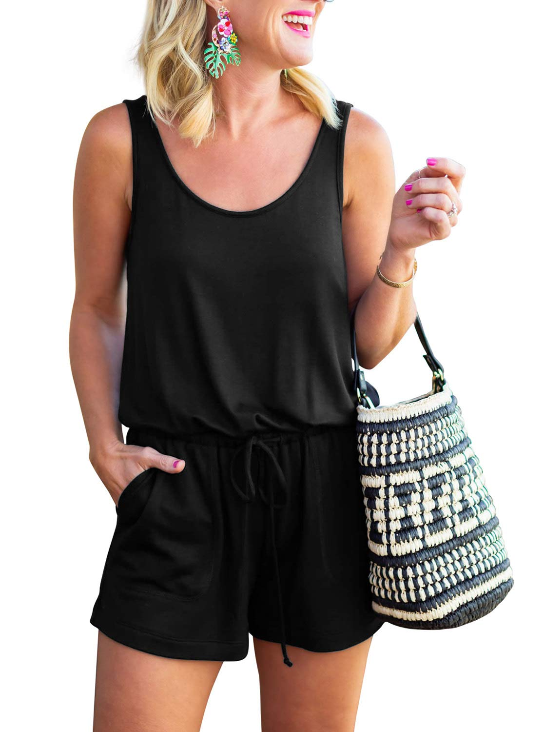 REORIA Womens Casual Summer One Piece Sleeveless Tank Top Playsuits Short Jumpsuit Beach Rompers Black Medium by REORIA