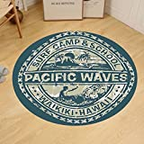 Gzhihine Custom round floor mat Modern Pacific Waves Surf Camp and School Hawaii Logo Motif with Artsy Effects Design Bedroom Living Room Dorm Khaki Slate Blue