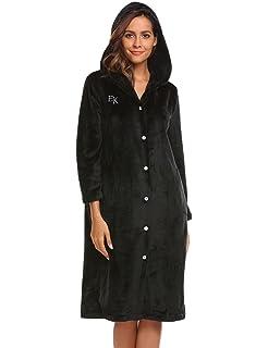 2442ef478d Acecor Women s Flannel Robes Button Hooded Fleece Plush Bathrobes  Loungewear Sleepwear(S-XXL)