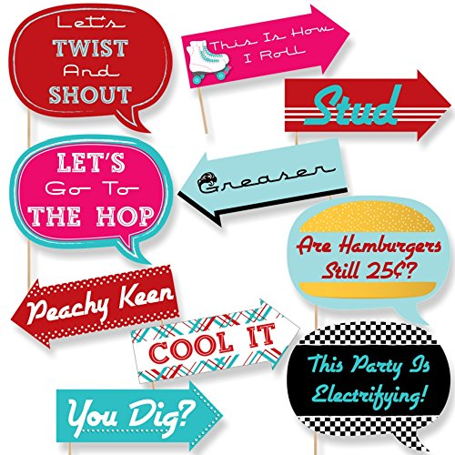 Big Dot of Happiness Funny 50's Sock Hop - 1950's Rock N Roll Party Photo Booth Props Kit - 10 ()