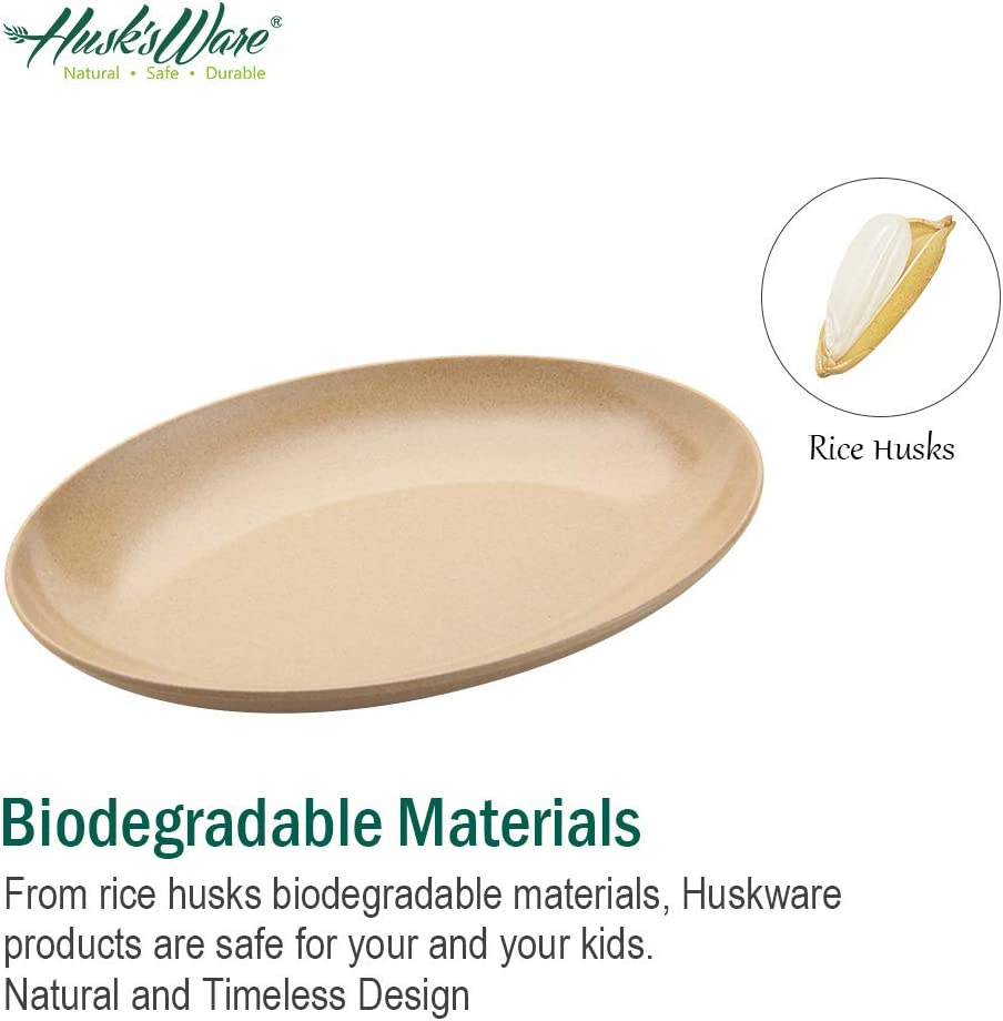 PACK OF 4 BIODEGRADABLE RICE HUSK ECO-FRIENDLY TABLEWARE EXTRA LARGE PLATES