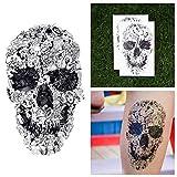 Tattify Cartoon Doodle Skull Temporary Tattoo - In Class Doodles (Set of 2) Long Lasting, Waterproof, Fashionable Fake Tattoos