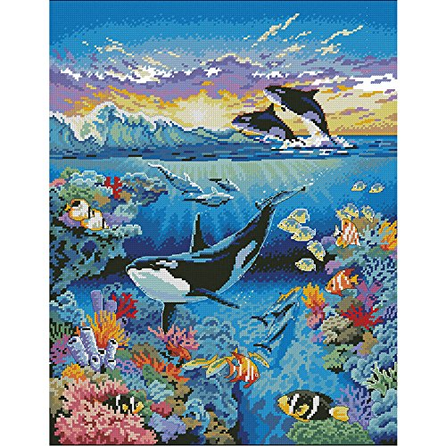 - Moohue Needlecraft Counted Cross Stitch Kits Dolphins and Fish Modern Handmade Embroidery Pattern DMC Cross Stitch Thread 14ct Cross Stitch Fabric Room Wall Decor for Home (Dolphins and Fish)