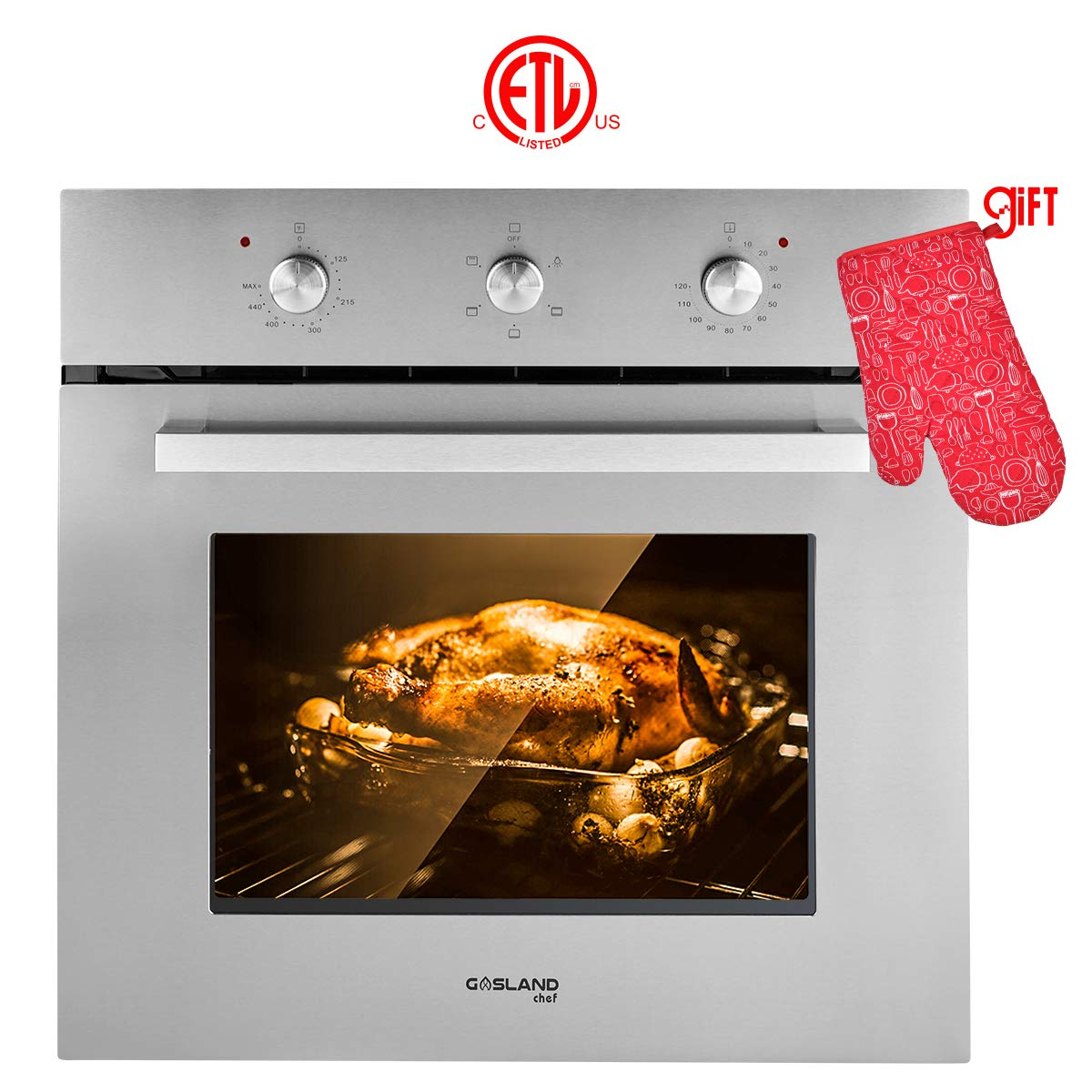 "Single Wall Oven, Gasland Chef ES606MS 24"" Built-in Electric Wall Oven, 6 Cooking Function, Stainless Steel Mechanical Electric Wall Oven with Cooling Down Fan, 3 Layer Glass, ETL Safety Certified"