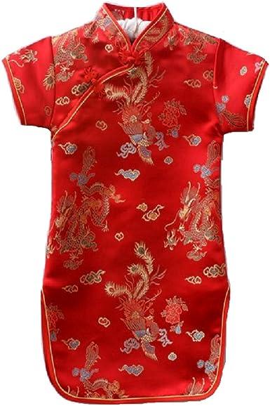 Hooyi Baby Girls Qipao Chinese Traditional Cheongsam Dragon Phoenix Dress Infantis Chi-Pao