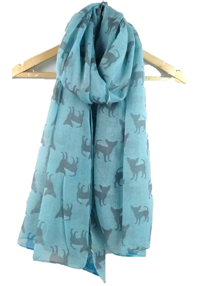 Claudia & Jason® Cute silhouette Chihuahua Animal Print Fashion Soft Shawl Wrap Scarves Scarf Oversized