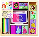 Melissa & Doug Disney Princess Wooden Stamp Set: 9 Stamps, 5 Colored Pencils