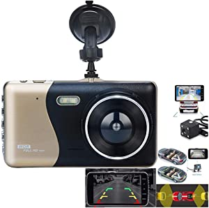 ABCOnline Dash Cam Front and Rear, 4'' LCD IPS Dual Car Dash Cam HD 1080P Car Dash Cam and 720P Rear Camera G-Sensor Loop Recording