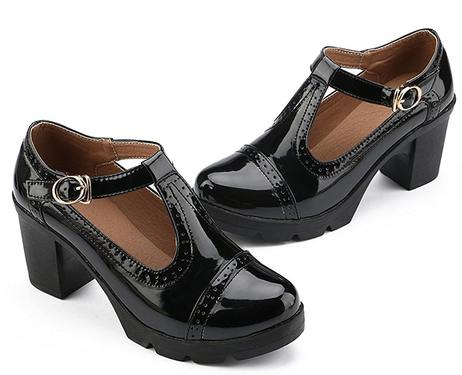 DADAWEN Women's T-Strap Platform Court Shoes Mid Heel Mary Jane Oxfords  Dress Shoes: Amazon.co.uk: Shoes & Bags