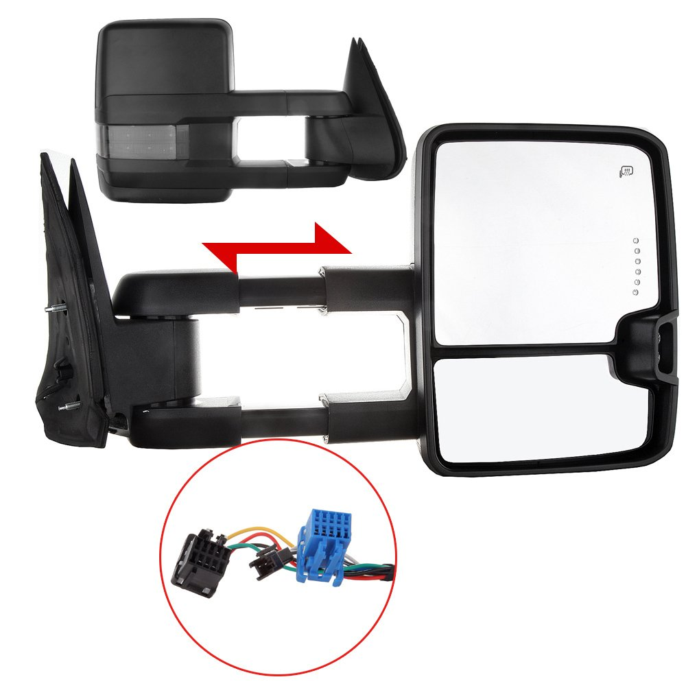 ECCPP Towing Mirrors High perfromance Automotive Exterior Mirrors with Power Heated Turn Signal Replacement fit for 2003-2007 Silverado Sierra Chevrolet Chevy gmc 1500 2500 3500(07 New Body Style)