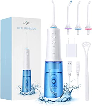 Anjou Water Flosser Cordless Teeth Cleaner with 4 Modes